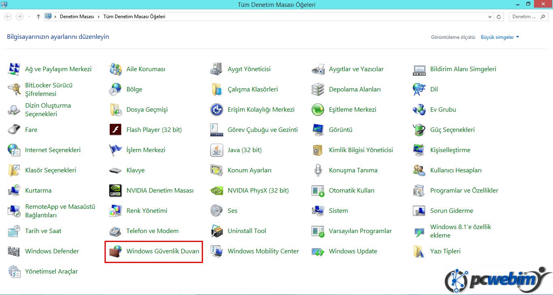 Windows Güvenlik Duvarı -1