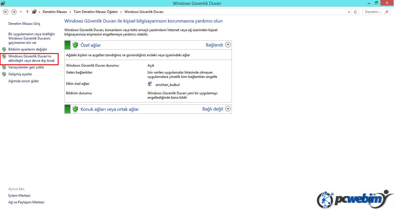 Windows Güvenlik Duvarı -2